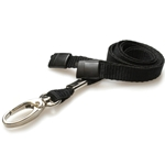 black plain lanyard with a metal hook and plastic breakaway