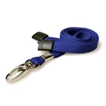 navy blue plain lanyard with a metal hook and plastic breakaway