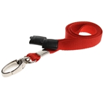 red plain lanyard with a metal hook and plastic breakaway