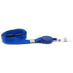 blue plain lanyard with badge reel and plastic breakaway