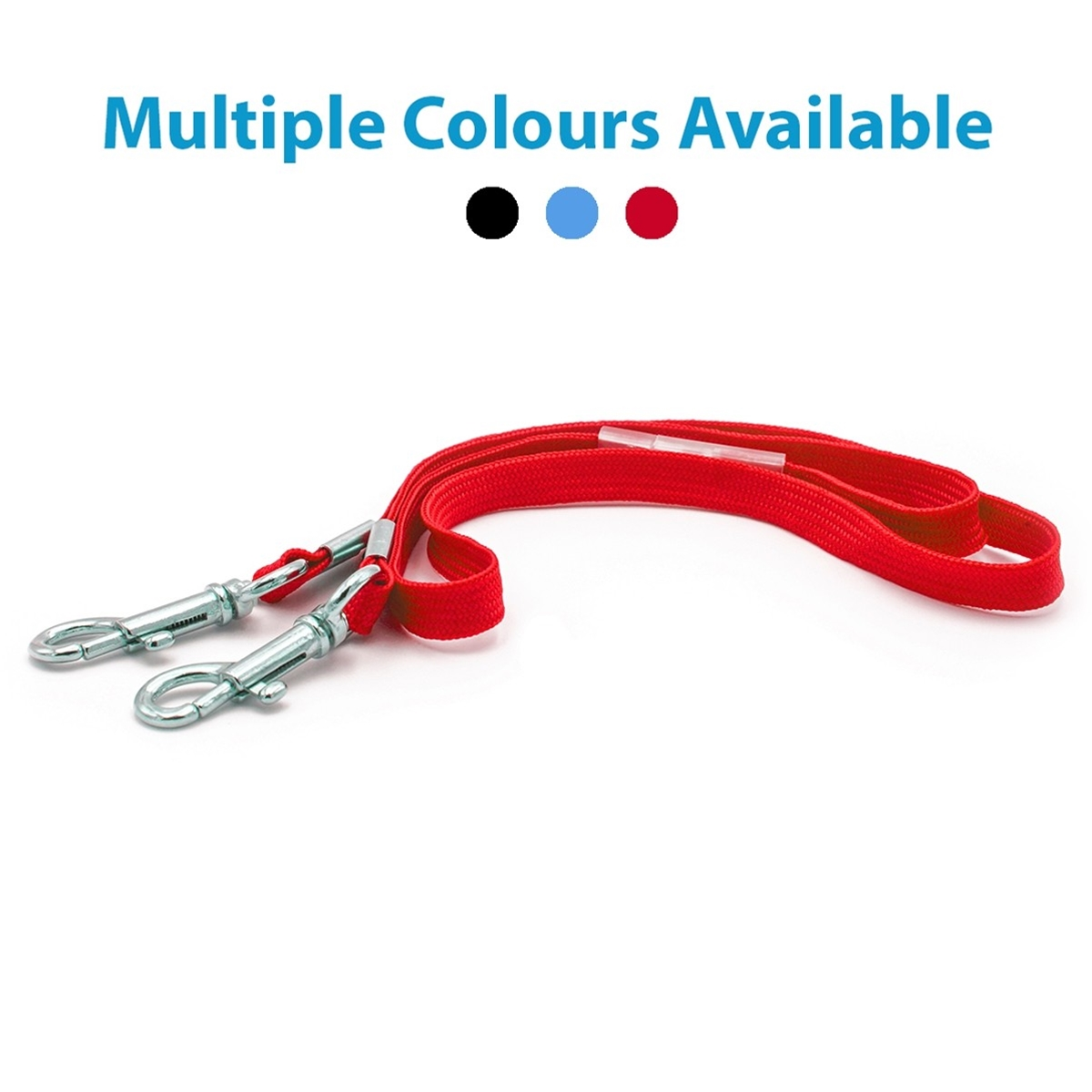 red lanyard with double clips and breakway