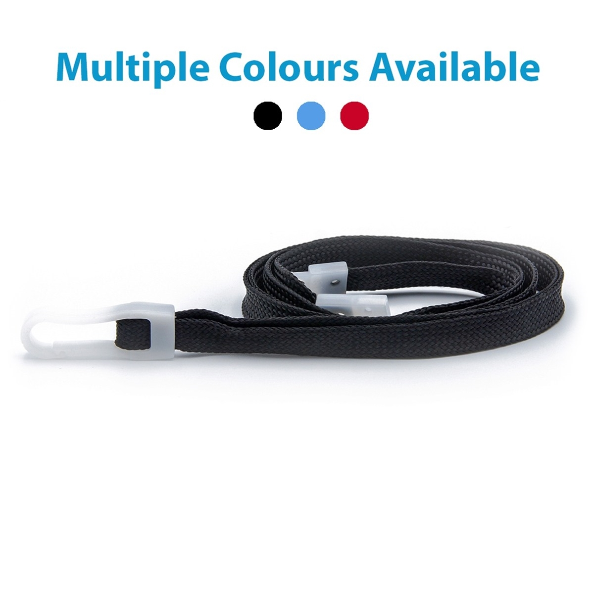 black plain economy lanyard with plastic hook and plastic breakaway showing available colours