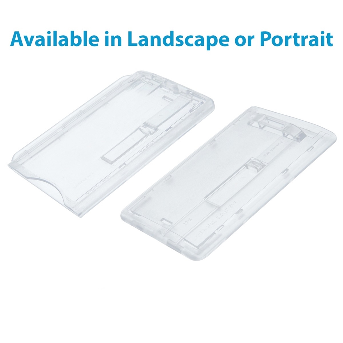 clear enclosed single id card holder with sliders in landscape and portrait postition