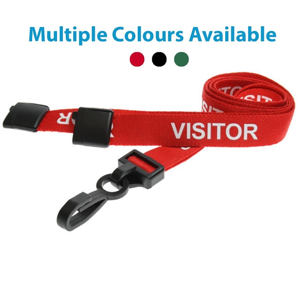 red visitor pre printed lanyard with plastic hook and breakaway