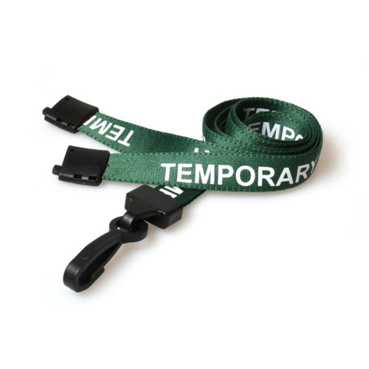 green temporary pre printed lanyard with plastic hook and breakaway