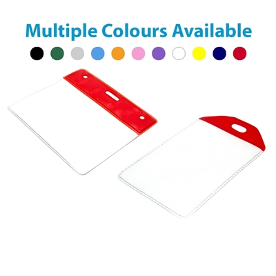 red top id card wallet in landscape and portrait showing multiple colours available