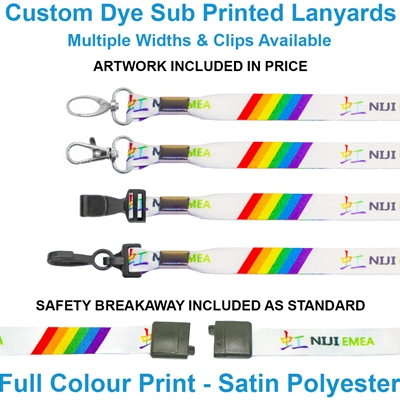 Custom dye sublimation lanyards with various clips in plastic and metal