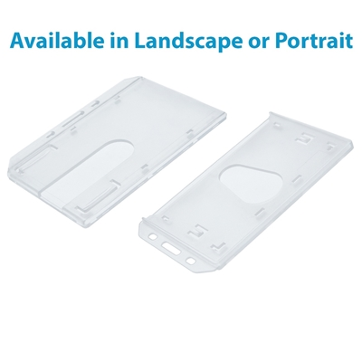 clear enclosed single id card holder with thumb slot in both landscape and portrait postitions