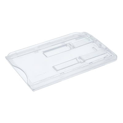 clear enclosed double id card holder with sliders in landscape postition