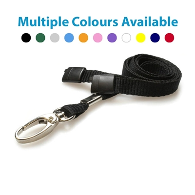 black plain lanyard with a metal hook and plastic breakaway showing multiple colours available