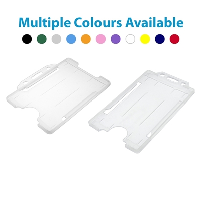 clear single sided open faced id card holders in both landscape and portrait showing multiple colours available