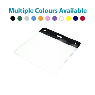 black top plastic visitor wallet showing multiple colours available